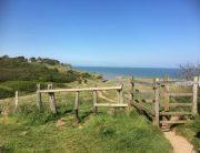 hek in wandelpad aan de kust van Kent