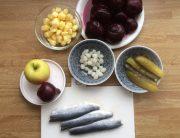 ingrediënten voor salade van bietjes met zure haring