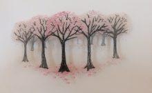 borduurwerk met bomen